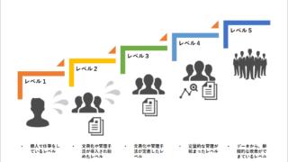 能力成熟度モデル統合(CMMI)の5つのレベルのイメージ図